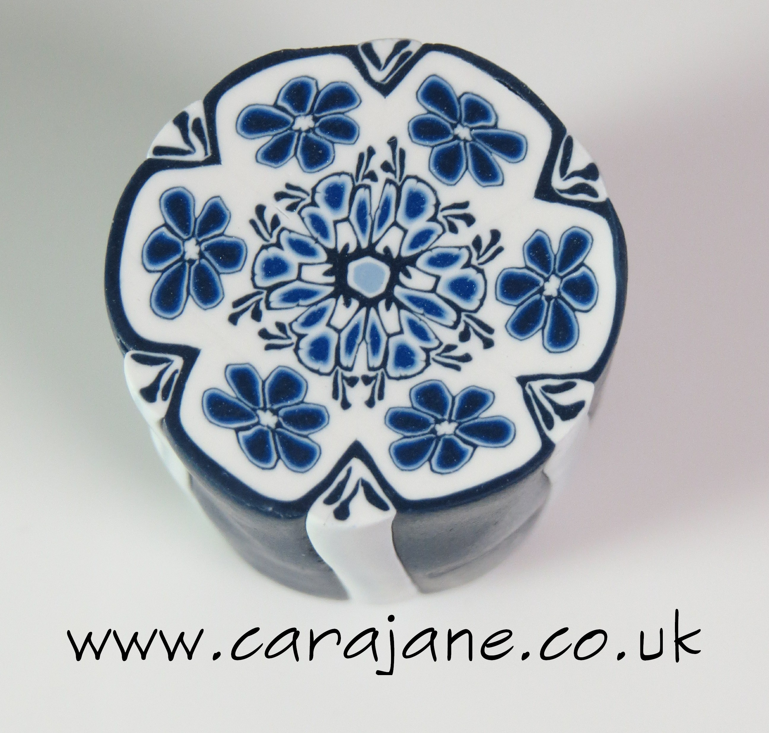 blue and white delft flower cane