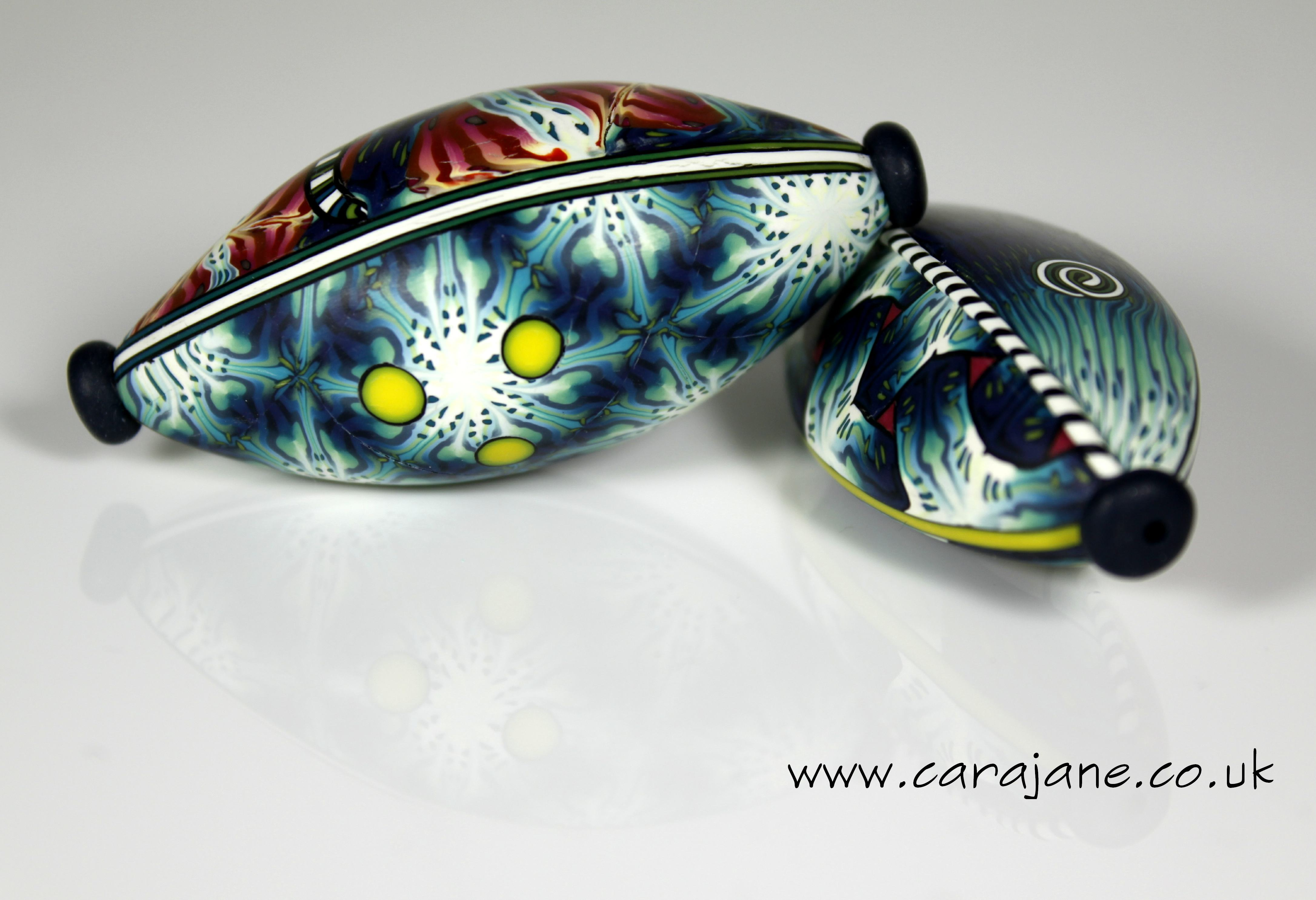 Patterned big beads made from polymer clay by Cara Jane