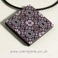 Cara Jane Purple Square Tile Kaleidoscope Pendant Polymer Clay