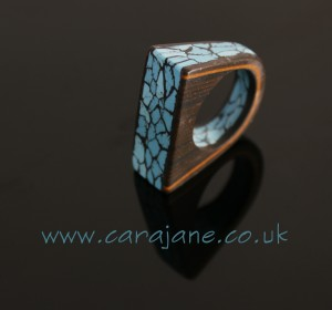 Cara Jane Polymer Clay Faux Mahogany and Spiderweb Turquoise Ring - Polymania 2016 workshop project