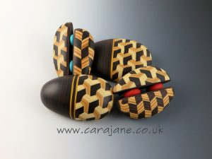 Cara Jane Faux Marquetry Pebble Brooches Polymer Clay