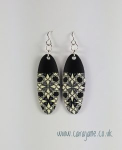 Cara Jane Black and White Earrings Polymer Clay Jan 2018