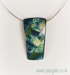 Cara Jane Polymer Clay Patchwork Pendant Mixed Colours Oblong