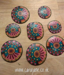 Cara Jane Colourful Polymer Clay Cane pieces