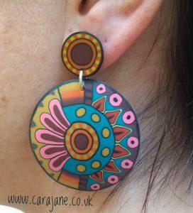 Cara Jane Big Bold Colourful Polymer Clay Cane earrings