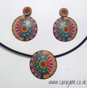 Cara Jane Colourful Cane Earrings and Necklace polymer clay