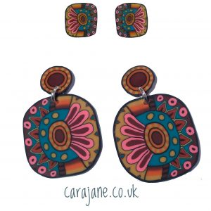 Studs and dangles polymer clay earrings by Cara Jane #carajaneuk