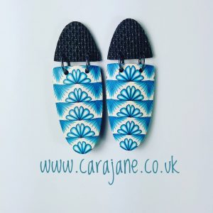 Cara Jane 'versa-tile' cane earrings. Large polymer clay and oxidised silver earrings. #carajaneuk