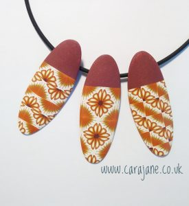 Cara Jane Versa Tile Cane - 3 pendant polymer clay necklace in orange and yellow